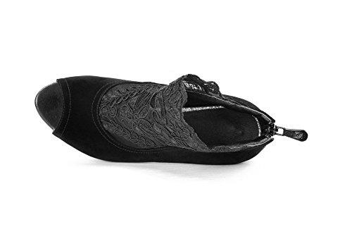 AllhqFashion Women's Zipper High Heels Frosted Solid Peep Toe Sandals Black i2CpTMiI