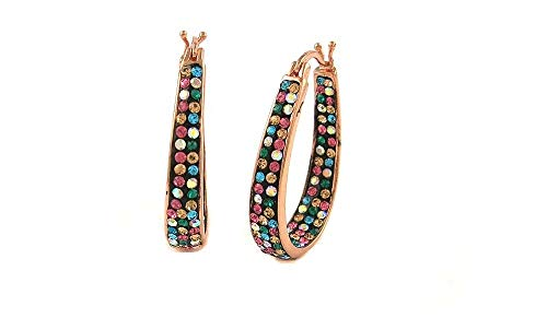 Womens Crystal Inside Out Oval Shape Hoop Earrings, Fashion Hoop Earrings For Women, Womens Hoop Earrings (Rose GOLD MULTI)