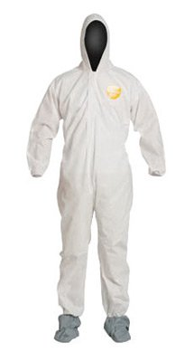 DuPont PB122SWH2X0025 2X White SafeSPEC 2.0 12 mil ProShield Basic Chemical Protection Coveralls With Standard Fit Hood, Skid-Resistant Boots And Elastic Wrists ()