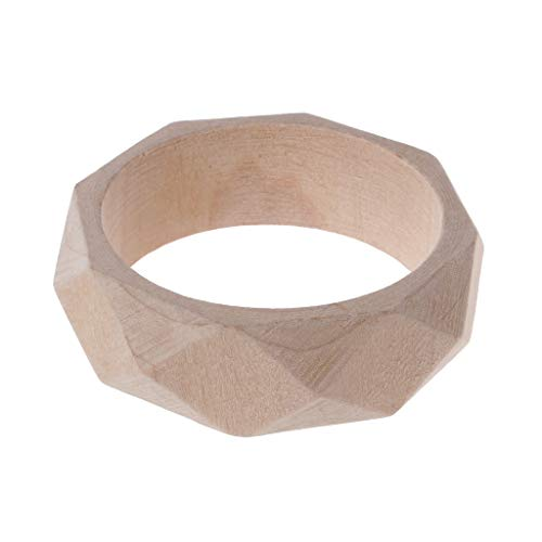 Cicitop Plain Natural Unfinished Unpainted Wooden Bangle Bracelet DIY Wood Art Jewelry Unique Fashion Bracelets (5#)