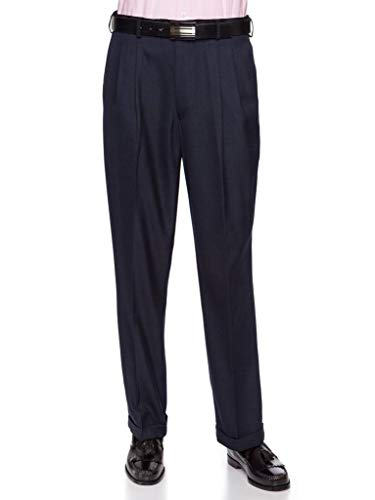 Giovanni Uomo Mens Pleated Front Dress Pants with Hidden Expandable Waist Navy-48 Short by Giovanni Uomo