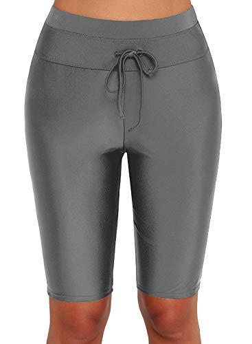 Dona-Brayman Women's Long Bike Swim Shorts UPF 50+ Swim Bottom Multi-Functional Board Shorts Rash Guard (Grey, X-Large(US 14-16))