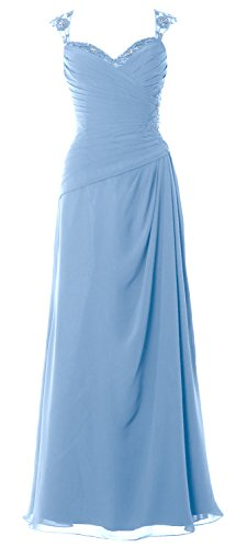 MACloth Women Cap Sleeves Long Mother of Bride Dress Open Back Party Formal Gown (16, Sky Blue)