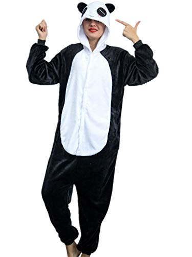 Adult Pajamas Panda Costume Onesies for Women Men Teens Girls Youth Animal Onsie,Black Panda,S Fit Height 59