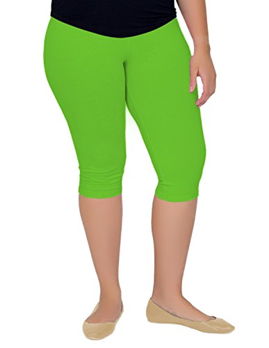 Stretch is Comfort Women's Knee-Length Leggings Lime Green -