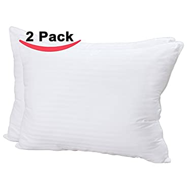 Super Plush Gel-Fiber Filled Pillows - King Size, 100% Cotton, 2-Pack, T-240 Mercerized Shell & Dust Mite Resistant, 3D Hollow Siliconized Material Retain Shape By Utopia Bedding