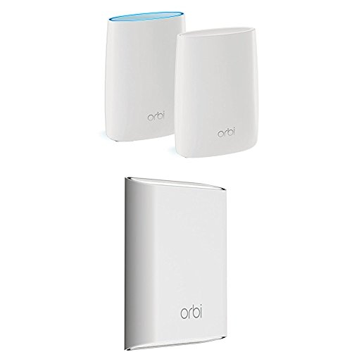Price comparison product image NETGEAR Orbi Whole Home and Backyard Mesh WiFi System with Tri-band – Eliminate WiFi dead zones indoors and out, Simple setup, Single network name, Works with Amazon Alexa, Up to 7,500 sqft, AC3000 (Set of 3)