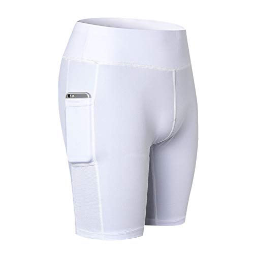 Thenxin Women Side Pockets Legging Shorts High Waist Stretch Yoga Sport Running Fitness Pants(White,M)