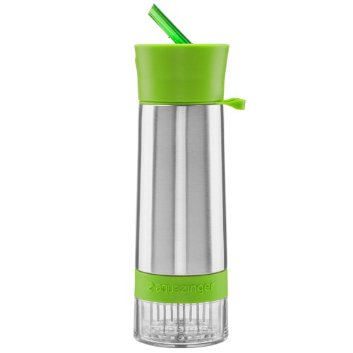 Aqua Zinger by Zing Anything, Stainless Steel Infuser Bottle, Double Wall Insulate Reusable Water Bottle, Citrus Infusion, Active Infusion, Food Grade 18/8 Stainless Steel, Hydration, 20 oz., Green