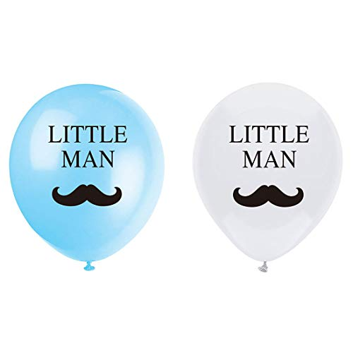 MAGJUCHE Little Man Mustache Balloons, 16pcs boy Baby Shower or Birthday Party Decorations or Supplies ()