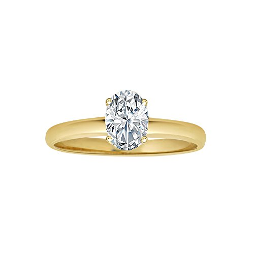14k Yellow Gold, Solitaire Lady Engagement Ring Oval Shape Created CZ Crystals 0.75ct Size 5.5 by GiveMeGold