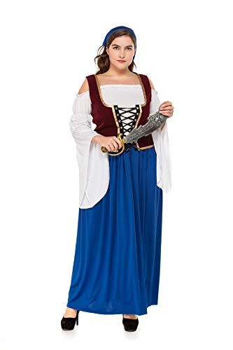 BTChoice Women's Plus Size Pirate Wench Dress Halloween Cosplay Costume (X-Large)