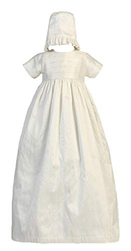 Silk Heirloom Gown with Two Hats (Boy and Girl) Christening Baptism Special Occasion Family Outfit with Two Matching Hats - M (6-12 Month, 13-17 lbs)