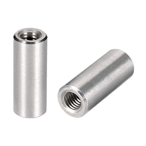 uxcell Round Connector Nuts, M6x25mm Height Sleeve Rod bar Stud Nut Stainless Steel 304,Pack of 10