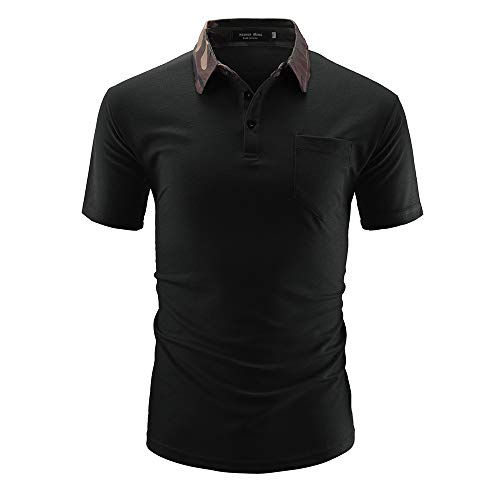 HYLKD Polo Shirt Short Sleeve Big and Tall Stretch Casual Stripe for Men(Black,L) ()