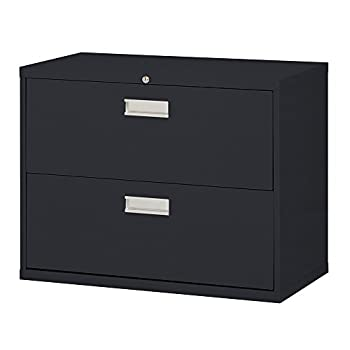 "Sandusky 600 Lateral File Steel 2 Drawer Cabinet, 36"" Width x 28-3/8"" Height x 19-1/4"" Depth, Black"