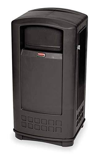 35 gal. Rectangular Black Trash Can w/Side Opening Door