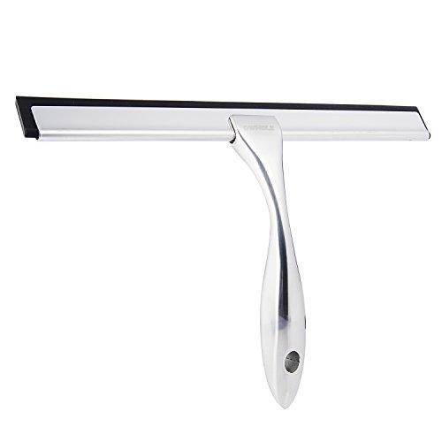 GWHOLE Edelstahl Duschabzieher Badezimmerwischer mit ergonomischem Griff, 25 cm Wischbreite für streifenfreies Ergebnis