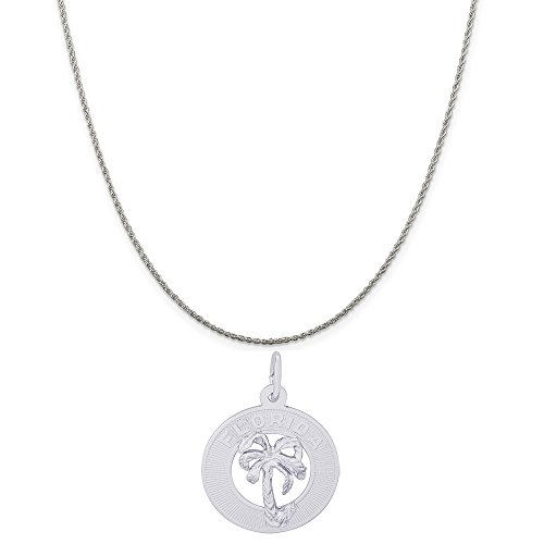 - Rembrandt Charms Sterling Silver Florida Palm Tree Charm on a Rope Chain Necklace, 18