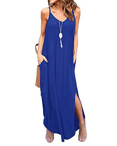 Jacansi Womens Loose Sleeveless Deep V Neck Summer Beach Maxi Long Dress Royal Blue XL