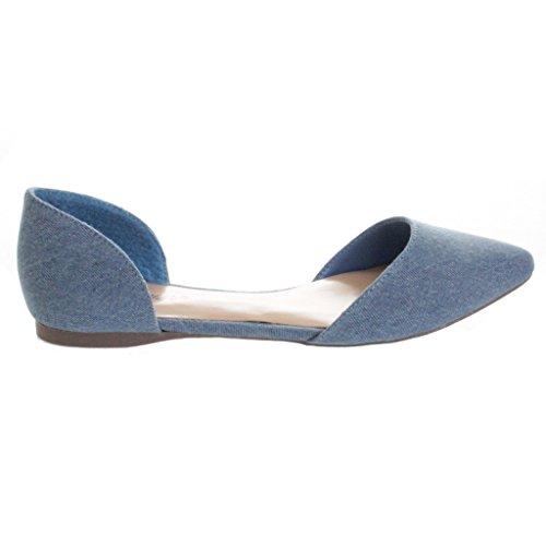 Breckelles Dames Faux Suede Dorsay Puntschoen Flats Blauw Denim 5.5
