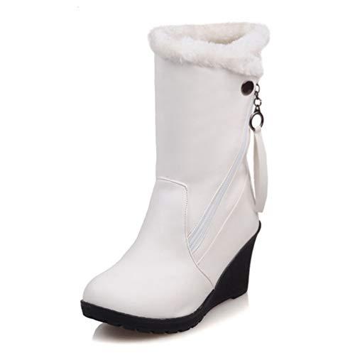 DETAWIN Women Mid Calf Boots Round Toe Wedge Waterproof Slip-On Thickened Fur Winter Warm Snow Boots