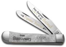 CASE XX Happy Anniversary Husband Smooth White Pearl Corelon Trapper 1 999 Pocket Knife