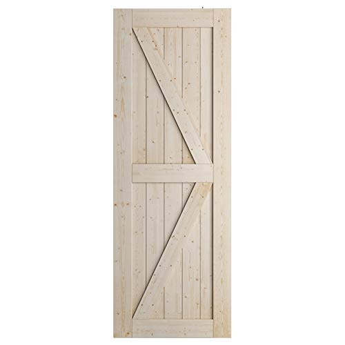 SmartStandard 30in x 84in Sliding Barn Wood Door Pre-Drilled Ready to Assemble, DIY Unfinished Solid Spruce Wood…