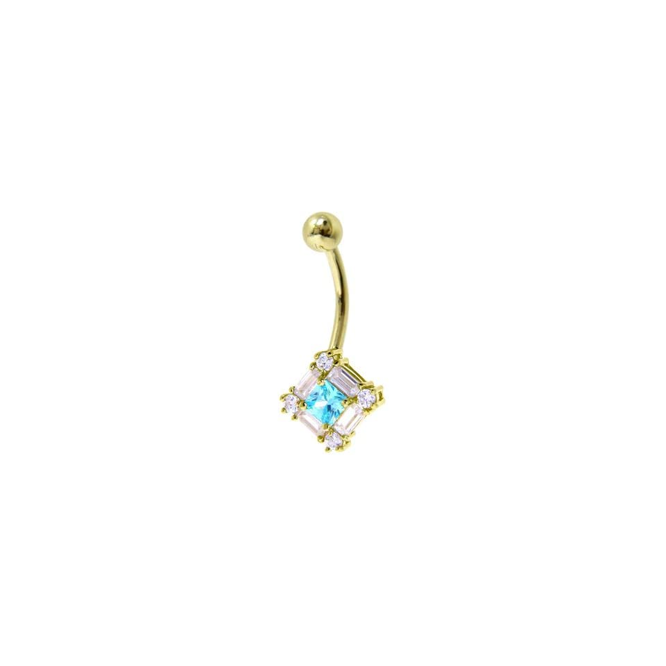 Solid 14kt Yellow Gold Cz Gem Aqua Surround Belly Ring
