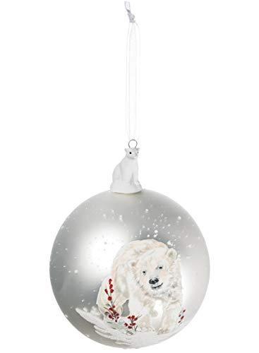 (Polar Bear Silvertone Mercury Glass Look 4 Inch Christmas Hanging Ball Ornament)