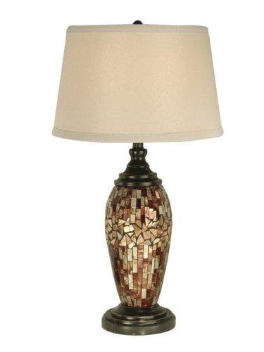 Dale Tiffany PG10411 Mosaic Oval Art Glass Table Lamp, Dark Antique Bronze -