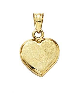 Satin 14 Carats Pendentif Coeur-JewelryWeb