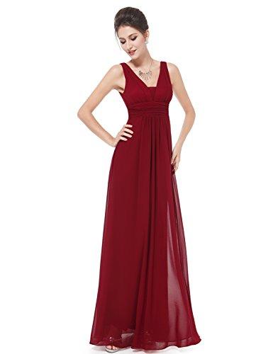 Pretty Lang Abendkleider Ever V 08110 Burgundy Ausschnitt Damen Kleider Abschlussball Chiffon 1nddUqX