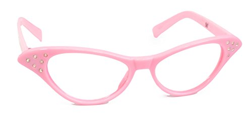 Hip Hop 50s Shop Womens Cat Eye Rhinestone Glasses, Light - Eye Cat Pink Glasses