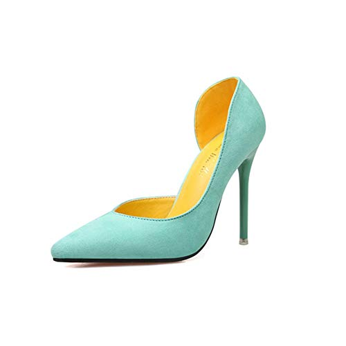 Ladies Pointed Toe Cross Over Strappy Sandals Satin Evening Wedding High Heel   Court Shoes Club bar,Green,36