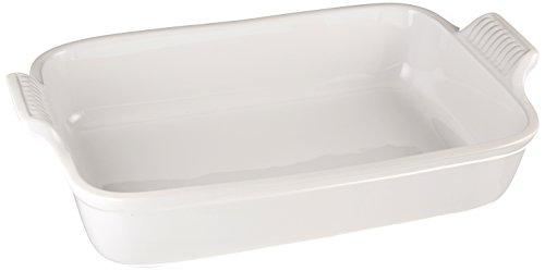 Le Creuset Heritage Stoneware 12-by-9-Inch Rectangular Dish, White - Le Rectangular Baker Creuset
