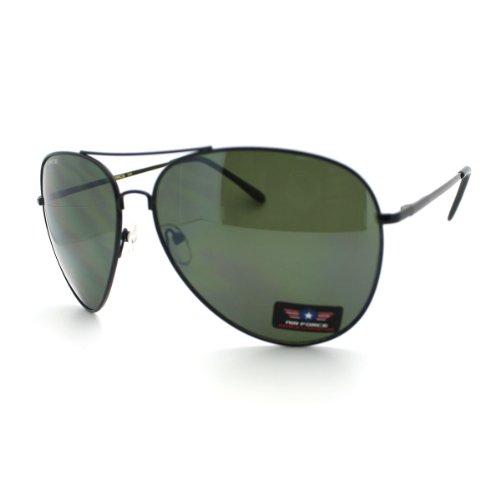 Airforce Mens Oversize Classic Officer Metal Rim Aviator Sunglasses Black - Aviators Black Rim