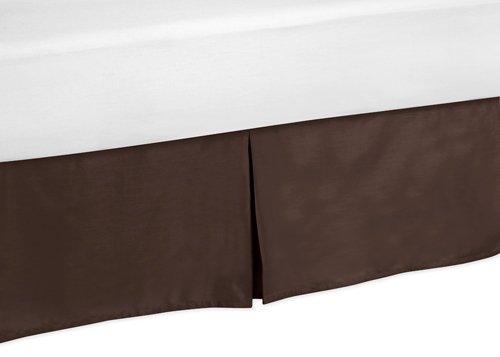 Queen Bed Skirt for Designer Dot Modern Childrens Teens Bedding Sets by Sweet Jojo (Bedskirt Solid Chocolate)