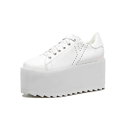 Suela Plano White Gruesa Redondo Zapatos De Talón Zapatos Oxfords DANDANJIE con Casual Toe Cordones Extra Las Mujeres RqYw4FA