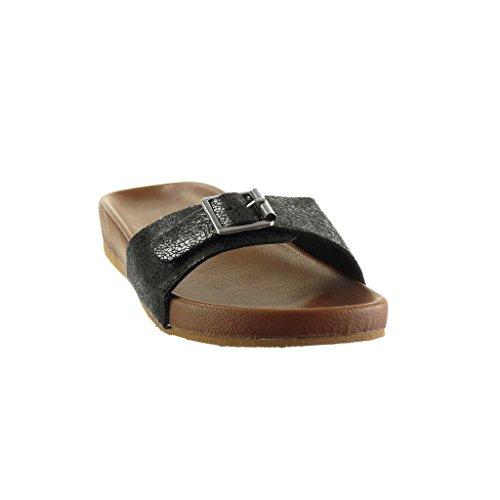 Angkorly - Scarpe da Moda sandali infradito donna pelle di serpente fibbia Tacco tacco piatto 3 CM - Nero