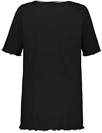 Ulla Popken damska koszulka typu tunika w dużych rozmiarach, podwÓjne opakowanie, jednobarwna, A-line, dekolt w szpic: Ulla Popken: Odzież