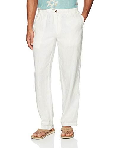Pants Cream Dress (28 Palms Men's Relaxed-Fit Linen Pant with Drawstring, Cream, Medium/30