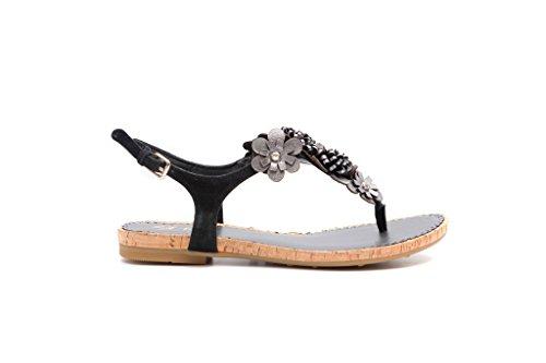 Pretty Con Nana Zapatos Mujer Negro Correa rwrvf