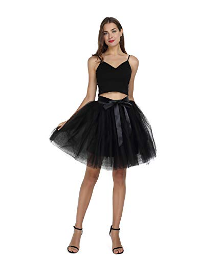 Women's High Waist Princess Tulle Skirt Adult Dance Petticoat A-line Short Wedding Party Tutu Black]()