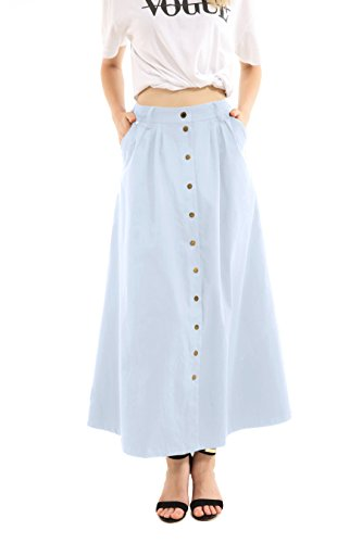 JOAUR Women's Slit Ankle Length Button Front High Waist Maxi Skirt with (Button Down Cotton Skirt)