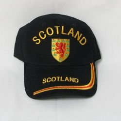 - Scotland Lion Rampant Black Embroidered Country Flag Hat Cap ... Adult Size ... New