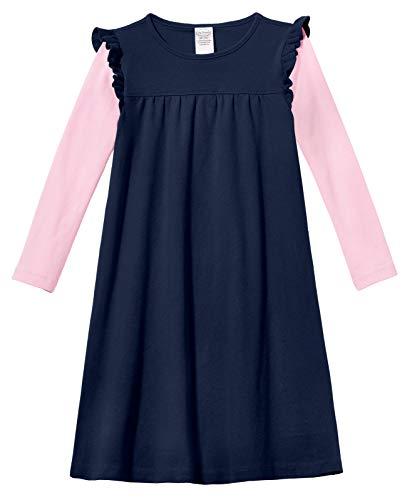 City Threads Baby Girls' Cotton Long Sleeve Flutter Dress School Play Sensitive Skin SPD Sensory Friendly, Navy, -