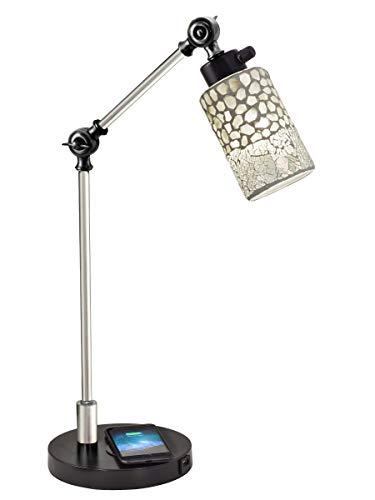Dale Tiffany TA18215WU Alps Mosaic Desk Lamp & Charger Black