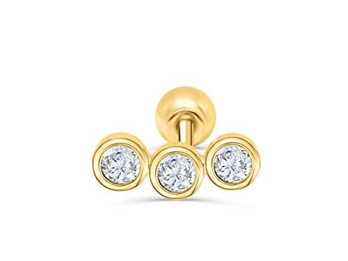 14K Solid Yellow Gold 6mm Jewelry Cz Round Ball Curved Bar Stick Ear Studs Post Ball Earring Piercing For Women Sensitive Ears