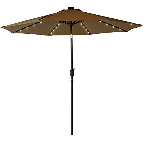 Sundale Outdoor Solar Powered 32 LED Lighted Patio Umbrella Table Market Umbrella with Crank and Push Button Tilt for Garden, Deck, Backyard, Pool, 8 Steel Ribs, 9 Feet, Tan ()